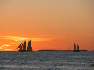 Boats on the sea in the sunset