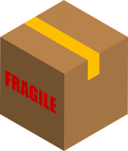 Cardboard box with fragile items