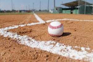 A baseball on a baseball field.
