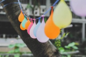 Party balloons in different colors.