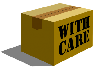 Moving box with writing with care