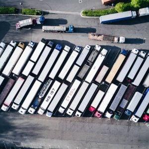 Fleet of truck seen from aerial view