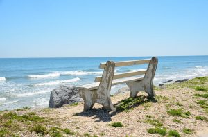 Top places for families in South Florida. Bench, sky and water.