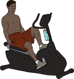 A man on a stationary bike