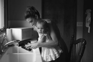 A woman and her child
