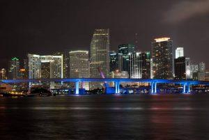 a nighttime view of Miami, Florida
