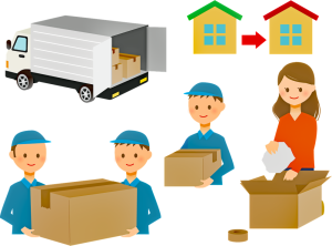 Packing fragile and valuable items for long distance move - moving truck, employees and a person that is moving