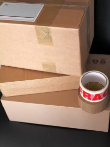 Boxes and a packing tape