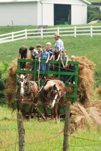Children on a hay ride