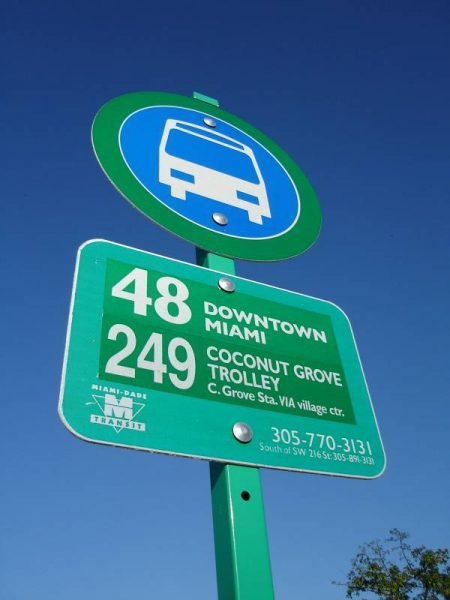a bus sign in Miami