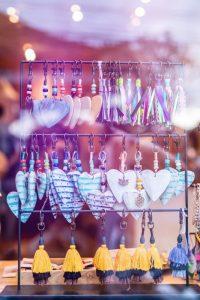 earrings on black rack