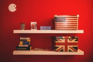 shelves on a wall