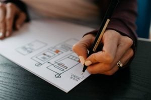 A person drawing a plan