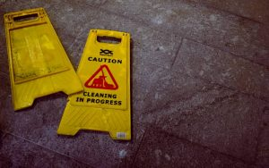 Caution sign on the floor