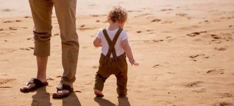 a small child on a beach