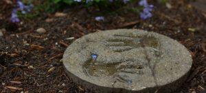 Hand prints in the garden