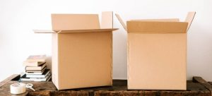 Cardboard boxes used for packing
