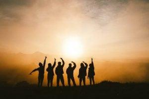 Friends enjoying the sunset
