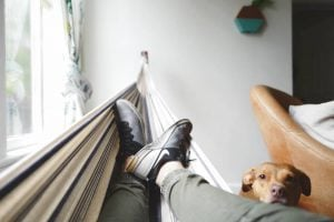 A man resting with a dog