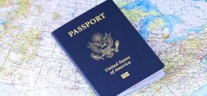 passport and a map