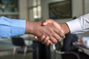 A handshake between two men