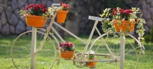 bicycle decorated with flowers is great for outdoor storage